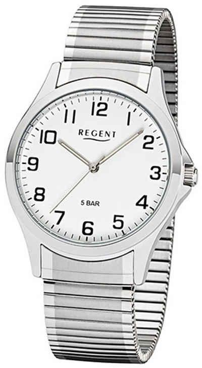 Regent Quarzuhr »UR1242413 Regent Herren Uhr 1242413 Metall Quarz«, (Analoguhr), Herren Armbanduhr rund, Metallarmband silber
