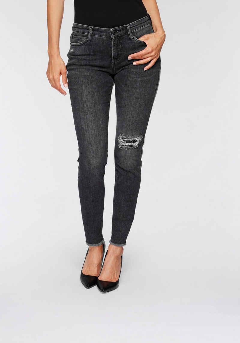 MAC Skinny-fit-Jeans »Skinny Leather-Back« Vorne Jeans im Rücken Lederimitat und mit unterlegten Destroyed-Effekten