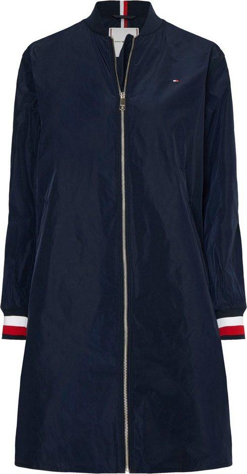 tommy hilfiger -  Langjacke »TH ESS POLY LONG BOMBER COAT« mit Ärmelbündchen in den typischen Tommy Streifen & Flag