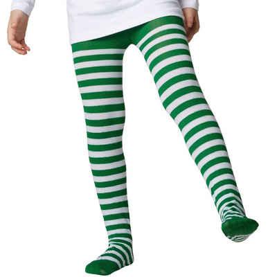 tectake Kostüm »Gestreifte Strumpfhose für Kinder grün-weiß«