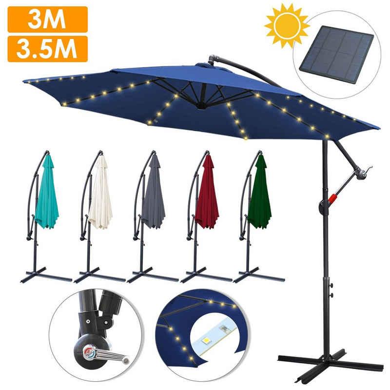 Einfeben Sonnenschirm »3m - 3.5m Sonnenschirm mit LED Solar Beleuchtung,Ampelschirm Marktschirm Balkonschirm,Aluminium, UV40+, UV -Schutz«