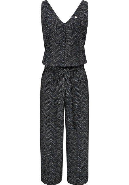 Hosen - Ragwear Jumpsuit »Suky Zig Zag« schicker, langer Damen Overall mit Bindeband › schwarz  - Onlineshop OTTO