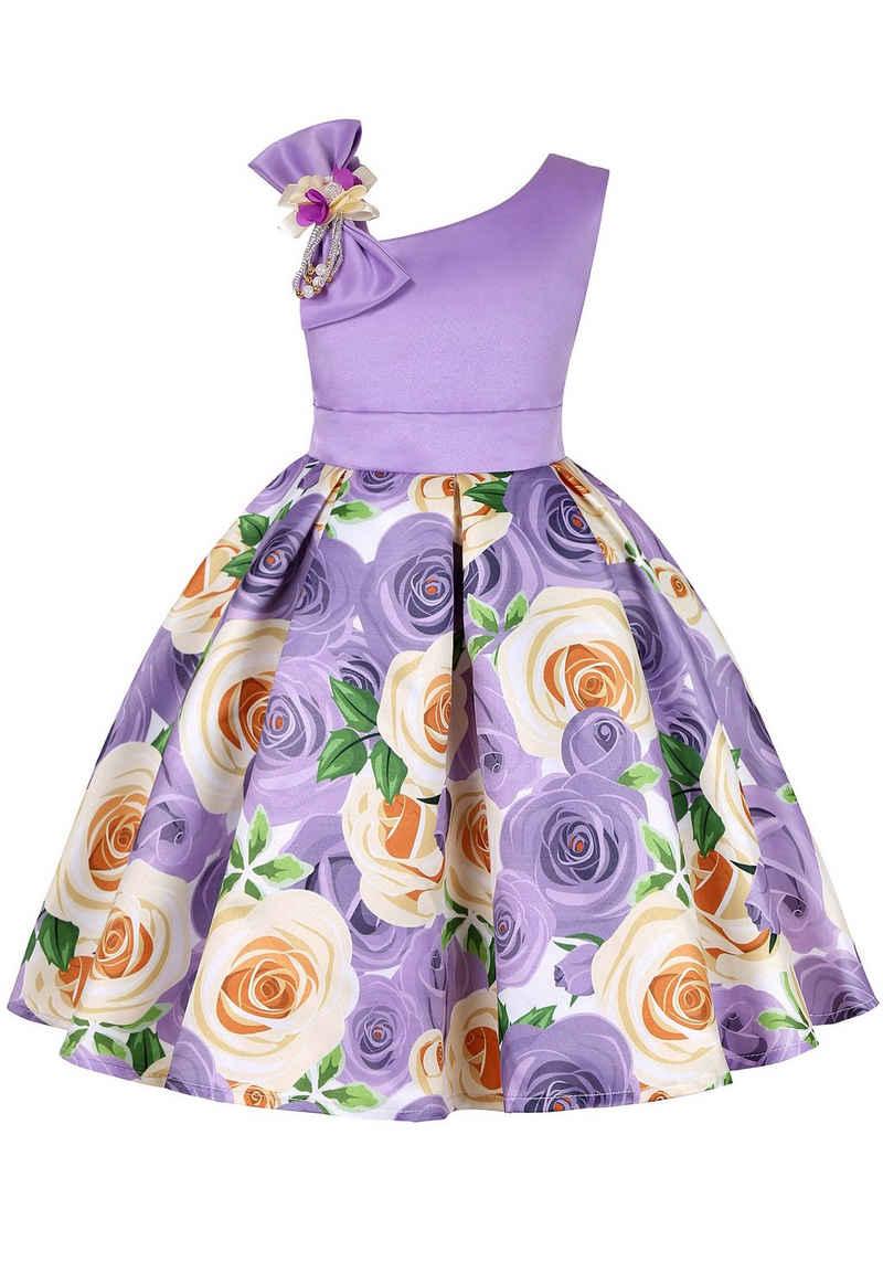 TOPMELON Partykleid Ärmellos, eine Schulter, mit Blumenmuster