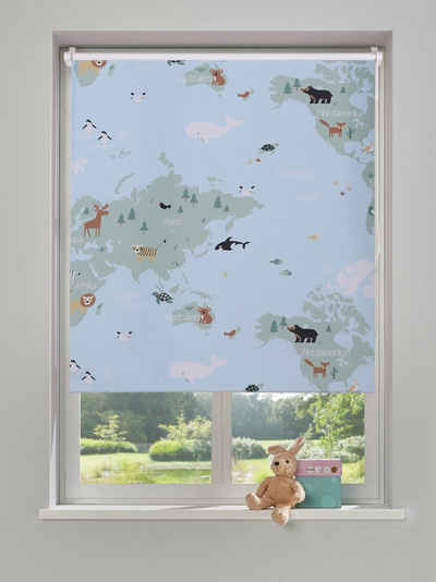 Verdunklungsrollo »Weltkarte«, Lüttenhütt, verdunkelnd, freihängend, Kinderrollo im Fixmaß