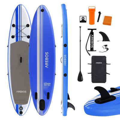 Arebos Inflatable SUP-Board »SUP Board Single Layer«, SUP, (Set, SUP mit Paddel, Pumpe und Rucksack), inkl. Alu-Paddel, Rucksack, Repartur-Kit, Luftpumpe