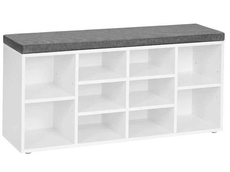 VASAGLE Schuhbank »LHS10«, Schuhregal, Sitzbank, 10 Fächer, mit Polsterung, multifunktional, 104 x 30 x 48 cm