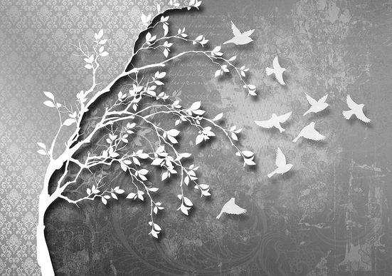 Vliestapete »Silber Baum mit Vögeln«, verschiedene Motivgrößen, für das Büro oder Wohnzimmer