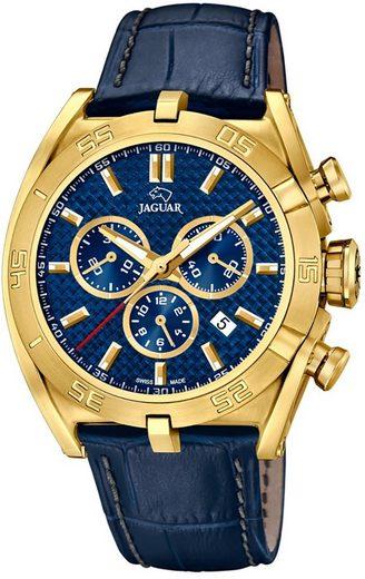 Jaguar Chronograph »UJ858/2 Jaguar Herren Uhr Sport Quarz J858/2 Leder«, (Chronograph), Herren Armbanduhr rund, extra groß (ca. 46mm), Lederarmband blau