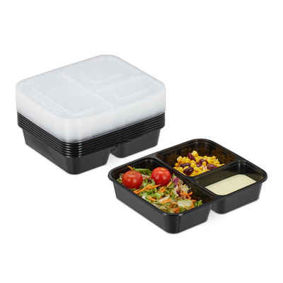 relaxdays Lunchbox »10er Set Meal Prep Boxen 3 Fächer«, PP, (10er Set)