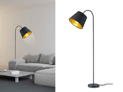 meineWunschleuchte Bogenlampe, Steh-Lampe mit Stoff-Lampenschirm Schwarz -Gold, Bogen-Leuchte für über Esstisch gebogen, schöne stehende Leselampe Wohnzimmer-Lampe
