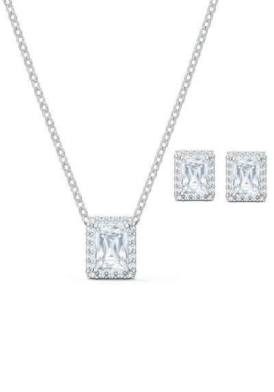 Swarovski Ohrring und Ketten Set »Angelic, weiss, rhodiniert, 5579842« (Set, 3-tlg), mit Swarovski® Kristallen