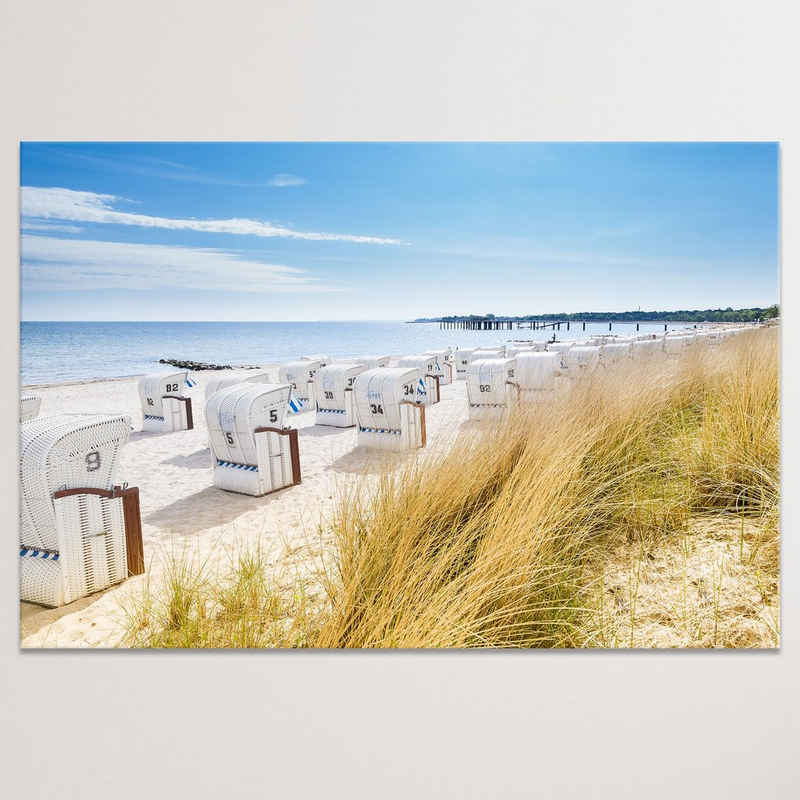 """Dekoli Leinwandbild »""""Ostsee mit Strandkörbe"""" - XXL Wandbild«, Leinwandbild geeignet für alle Wohnbereiche"""