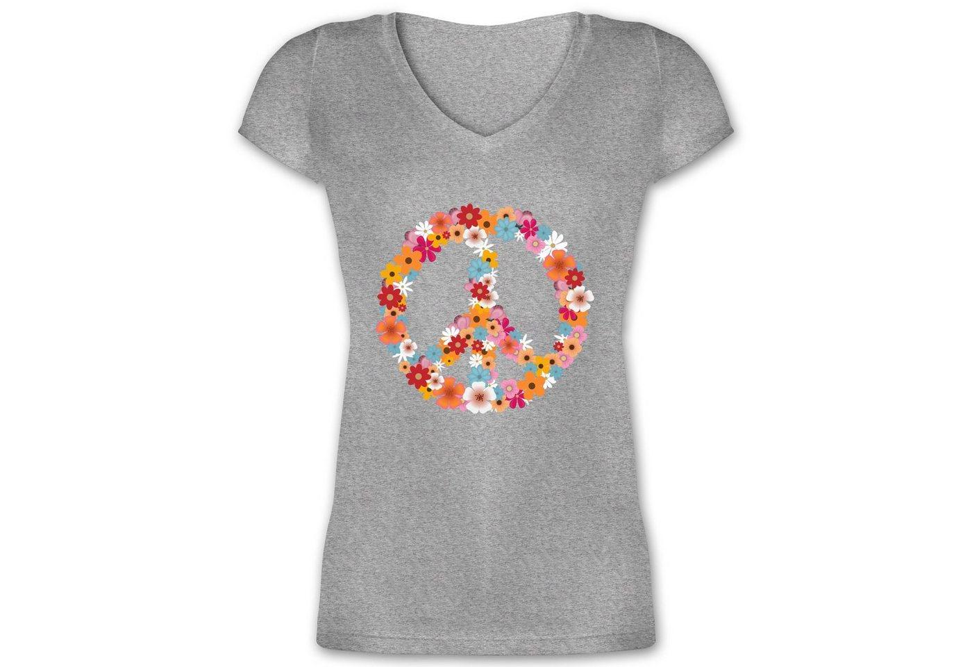 shirtracer -  T-Shirt »Peace Flower Power - Damen T-Shirt mit V-Ausschnitt - T-Shirts« Statement