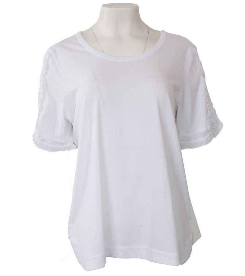 Margittes T-Shirt »MARGITTES T-Shirt verspieltes Damen Freizeit-Shirt mit Rüschen Kurzarm-Shirt Weiß«