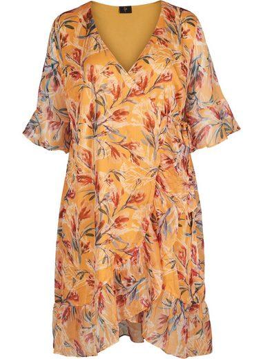 ZAY Wickelkleid Große Größen Damen Kurzarm Wickel Kleid mit Blumenprint