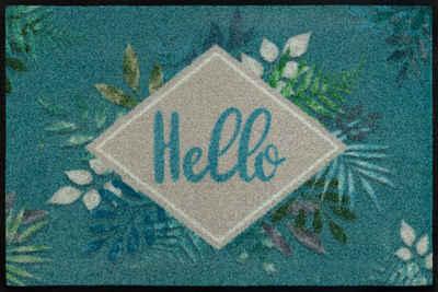 Fußmatte »Floral Hello«, wash+dry by Kleen-Tex, rechteckig, Höhe 7 mm, Schmutzfangmatte, mit Spruch, In- und Outdoor geeignet, waschbar