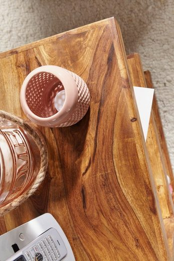 FINEBUY Beistelltisch »SuVa1471_1«  Beistelltisch Massivholz E Cube 60cm hoch Wohnzimmer-Tisch Design braun Landhaus Couchtisch Farbe wählbar