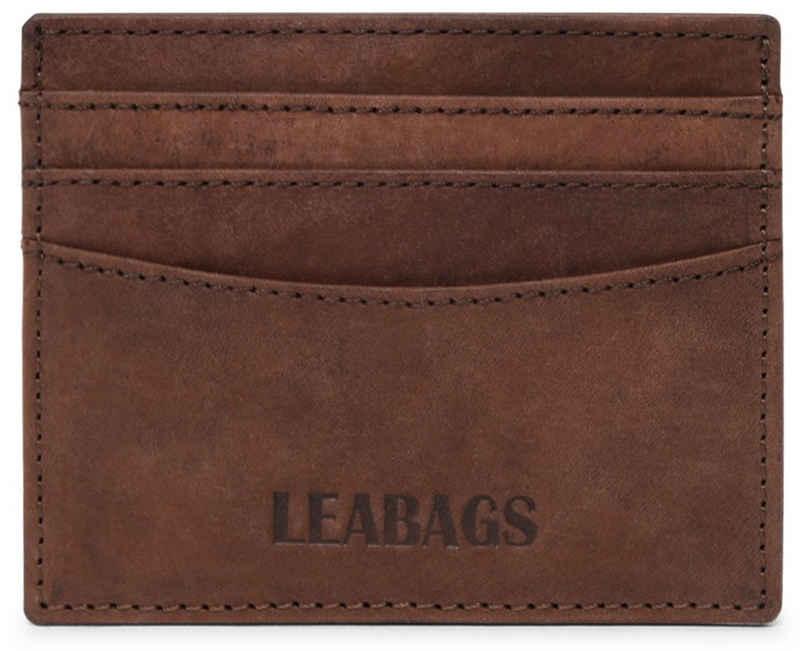 LEABAGS Geldbörse »Milwaukee«, Kreditkarten-Etui aus echtem Büffel-Leder im Vintage Look - Muskat