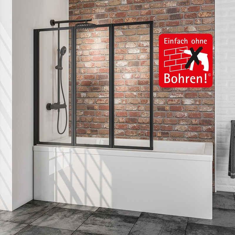 Schulte Badewannenaufsatz »Duschwand Well, 3-teilig«, 127 x 140 cm, inkl. Klebe-Montage-Set