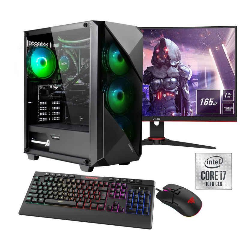 """Hyrican Striker SET02127 Gaming-PC-Komplettsystem (27"""", Intel Core i7, RTX 3060 Ti, 16 GB RAM, 960 GB SSD, Wasserkühlung, inklusive 27"""" Monitor AOC C27G2AE/BK)"""