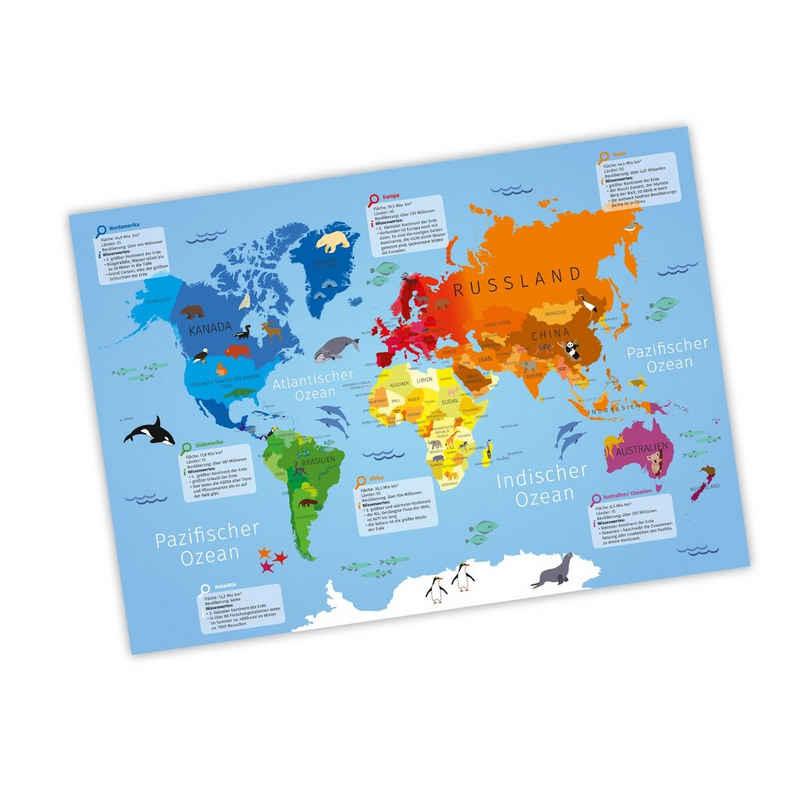 nikima Poster »Kinder Weltkarte«, Weltkarte, in 3 Größen