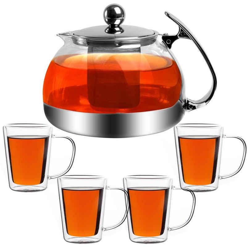monzana Teekanne, 1,2L inkl 4er Set Teegläser Glaskanne mit Siebeinsatz herausnehmbaren Edelstahl Teesieb Hitzebeständig