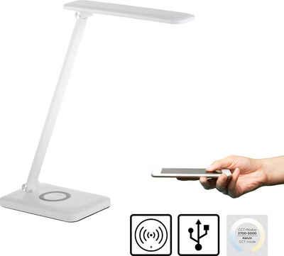 Leuchten Direkt LED Tischleuchte »FLORENTINA«, Schreibtischlampe mit Touchdimmer, Farbtemperatursteuerung (2700-5700K), Ladefunktion für Handy über USB oder kabellos per Induktion