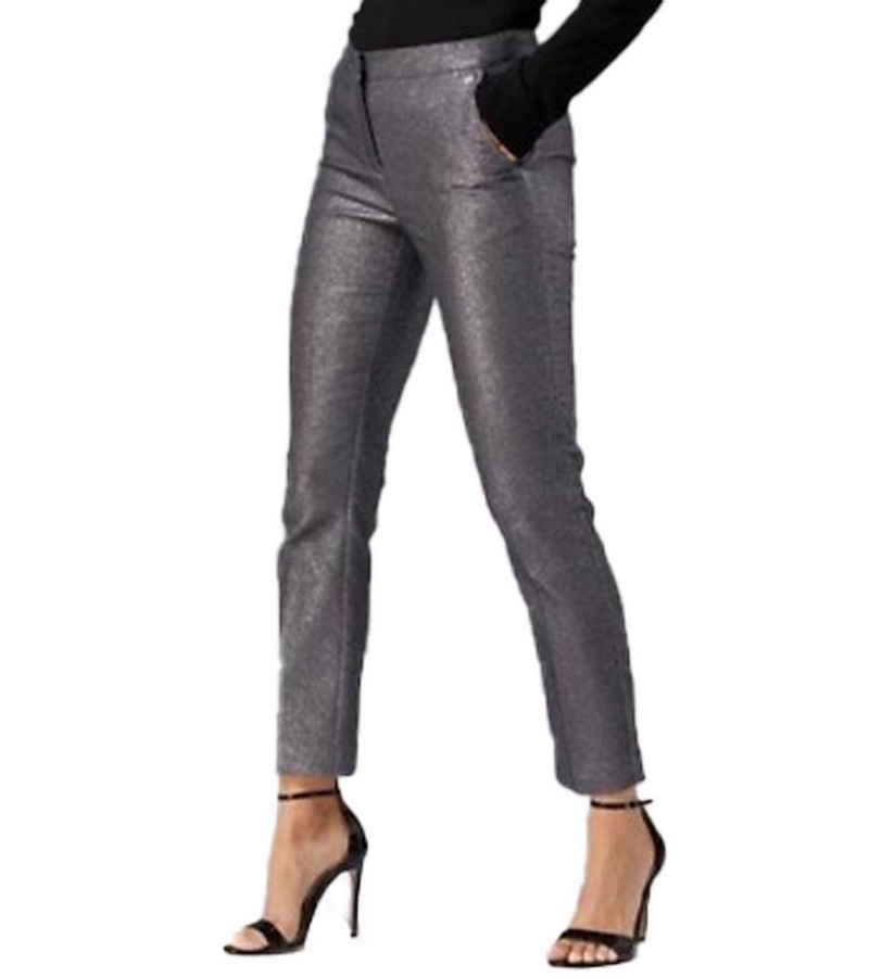 GUIDO MARIA KRETSCHMER Regular-fit-Jeans »GUIDO MARIA KRETSCHMER Party-Hose schimmernde Damen Bügelfalten-Hose im Glitzer-Look Stoff-Hose Schwarz«