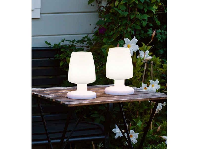meineWunschleuchte LED Außen-Tischleuchte, 2-er Set, aufladbar per USB-Kabel mit wechselbarem Akku, Outdoor, Terrasse, Balkon