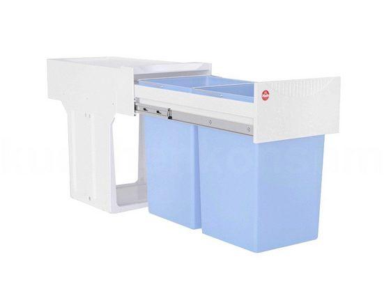 Hailo Einbaumülleimer »Abfallsammler 3666661 TA Swing Tandem 2x 15 Liter weiß blau antibak«, antibakteriell für Schrankbreite ab 300 mm mit Drehtür