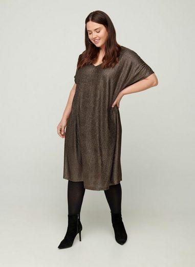 Zizzi Partykleid Große Größen Damen Kurzarm Schimmerkleid mit V-Ausschnitt