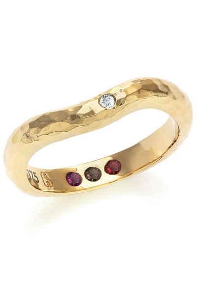 Carolin Stone Jewellery Goldring »Goldring gehämmert mit Steinen - Hidden Inner Strength«