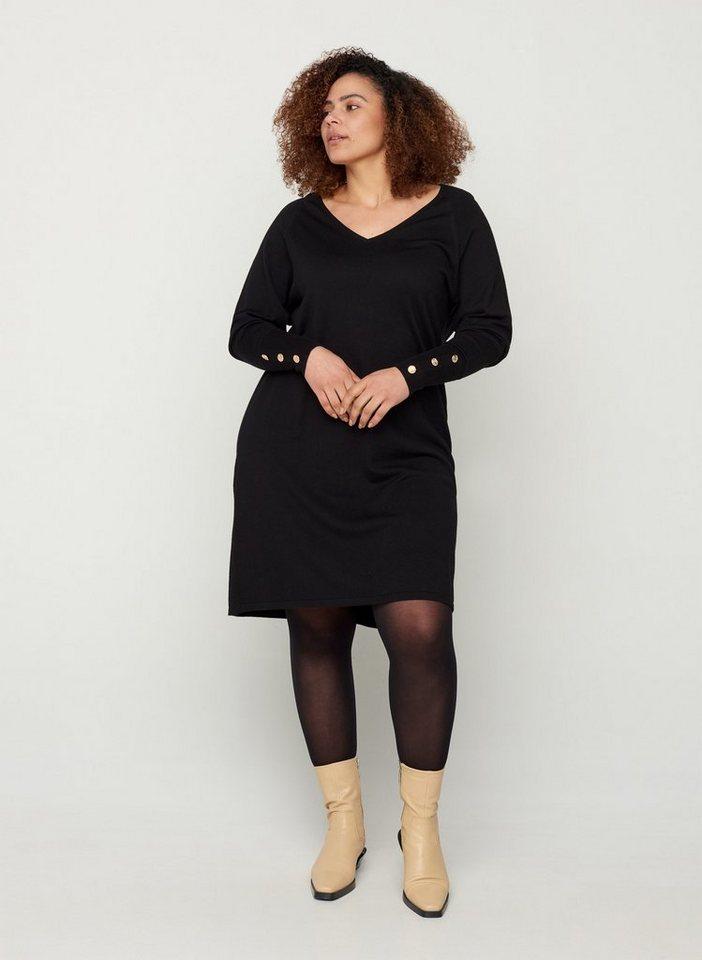 zizzi -  Strickkleid Große Größen Damen Strickkleid aus Viskosemischung mit V-Ausschnitt