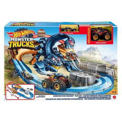 Mattel® Spielzeug-Auto »Mattel GNB05 - Hot Wheels - Monster Trucks - Skorpion-Beschleuniger Rennbahn mit zwei Fahzeugen«