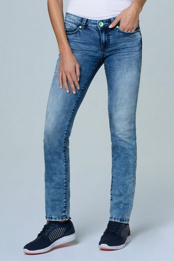SOCCX Regular-fit-Jeans mit Used-Waschung