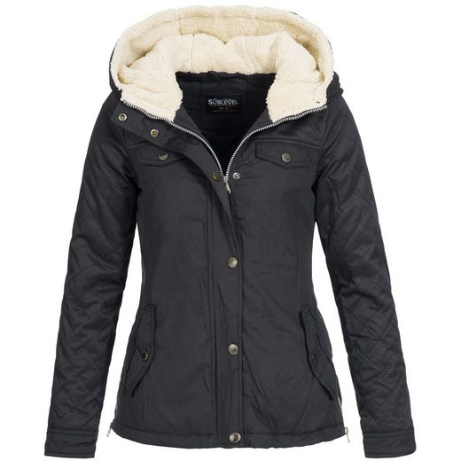 SUBLEVEL Winterjacke »OM44315« Damen Winter Parka mit Kapuze und Teddyfellfutter