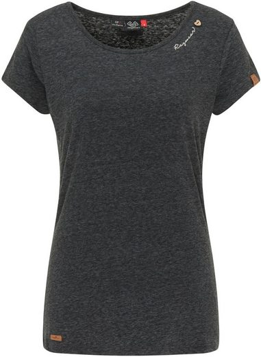 Ragwear T-Shirt »MINT« mit geschwungenem Logoschriftzug und Zierknöpfen