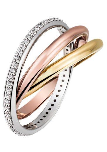 Firetti Goldring »3-fach verschlungen, tricolor-Optik, massiv und glänzend«, mit Diamanten
