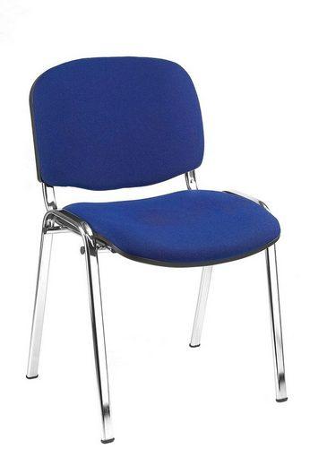 Lüllmann Besucherstuhl »SET - Besucherstuhl Stühle Warteraumstühle Büromöbel stapelbar chrom/blau Konferenzestühle« (Spar-Set, 10 Stück), Stoffkennung: Scheuerfestigkeit 30000 Touren Martindale, Stapelbar max. 15 Stühle pro Stapel