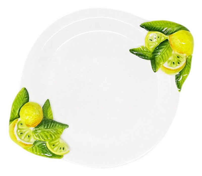 Lashuma Frühstücksteller »Zitrone«, Ovaler Servierteller, Handgemachte Speiseplatte aus Italien