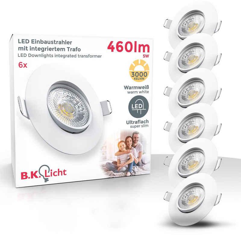 B.K.Licht LED Einbauleuchte, LED Einbauspots schwenkbar IP23 ultra-flach SET Deckenspots warmweiß 5W 460 Lumen