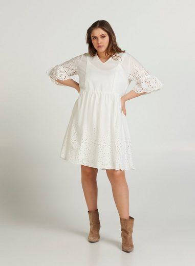 ZAY Abendkleid Große Größen Damen Kurzarm Kleid mit V Ausschnitt und Print