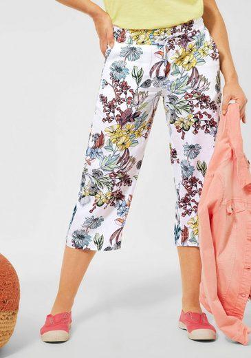 Cecil Culotte aus Leinen, Schlupfhosenform mit floralem Druck