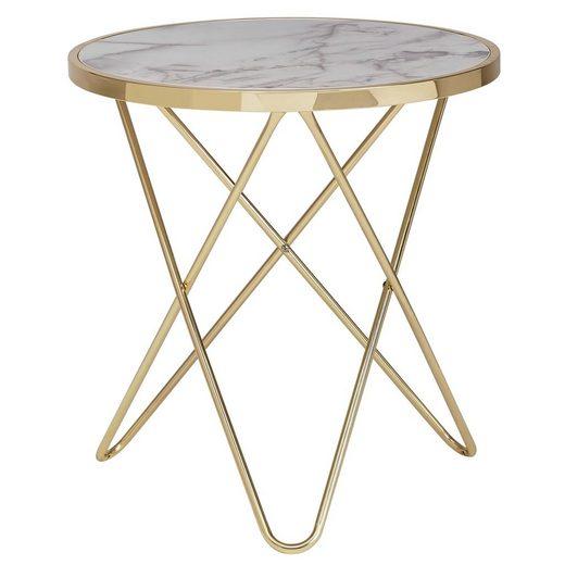 FINEBUY Beistelltisch »FB53041«, Design Beistelltisch Marmor Optik Weiß Rund Ø55 cm Gold Metallgestell Kleiner Wohnzimmertisch Couchtisch