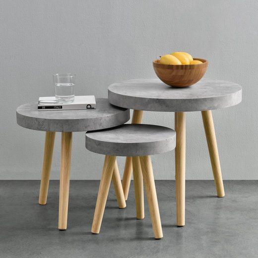 en.casa Beistelltisch, Stylischer Beistelltisch »Belgrad« - Bestehend aus 3 einzelnen Tischen