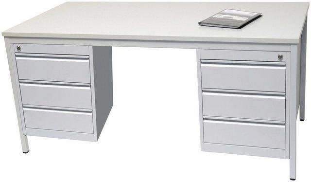 Schreibtische - SZAGATO Schreibtisch Stahlrahmen, inkl. 2 Unterbauschränken  - Onlineshop OTTO