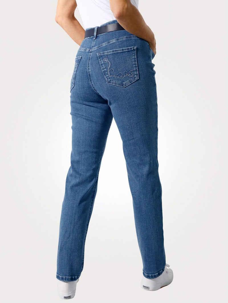 Mona 5-Pocket-Jeans mit Strasszier und Stickerei