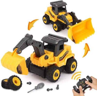 BeebeeRun Spielzeug-Bagger »2 in 1 Montage Spielzeug«, DIY Lastwagen Spielzeug Geschenk