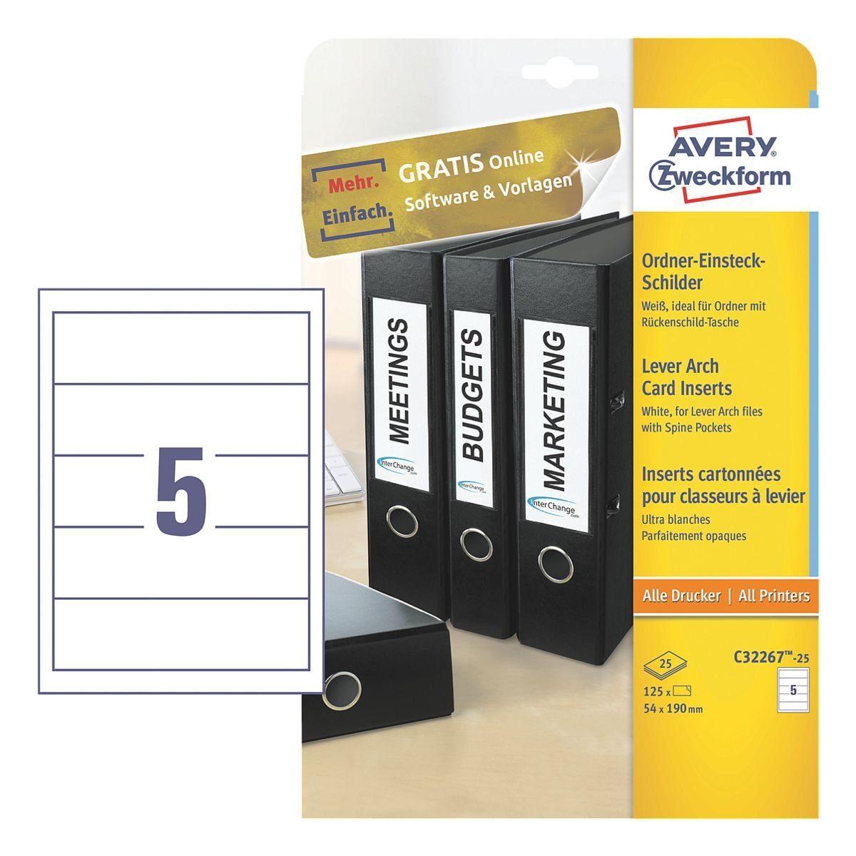 Avery Zweckform Ordner-Rückenschilder zum Einstecken