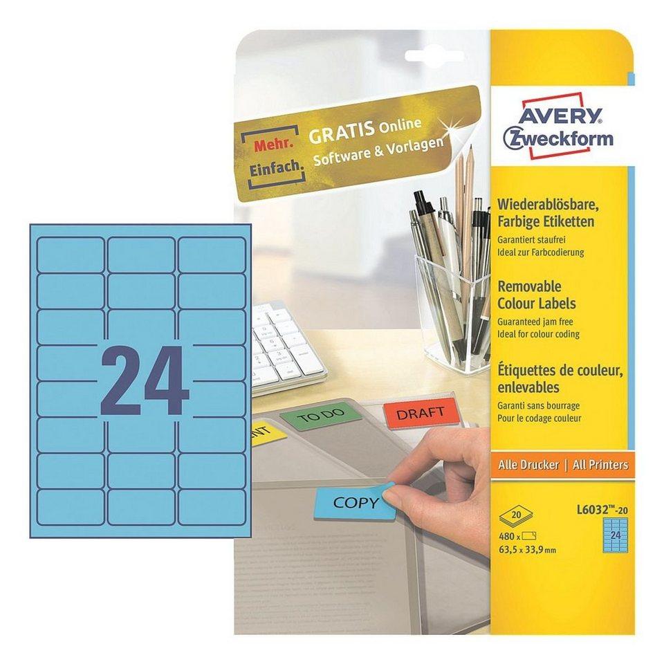 Avery Zweckform 480er-Pack Farbige Etiketten in blau
